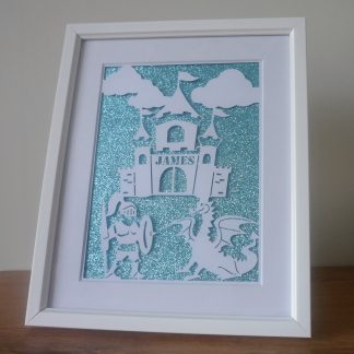 Personalised Castle Dragon Framed Papercut