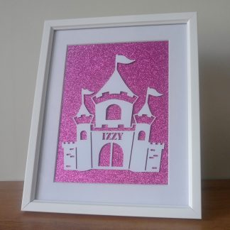 Personalised Castle Papercut Pink
